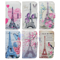 PU Leather Stand Holder Wallet Flip Case Art Pattern Cover For Samsung Galaxy S4 I9500 Butterfly & Tower Flower Free Shipping
