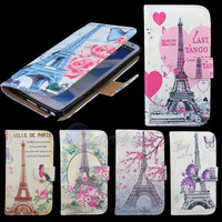 PU Leather Stand Holder Wallet Flip Case Art Pattern Cover For Samsung Galaxy Note 3 N9000 Butterfly & Tower Flower Shell
