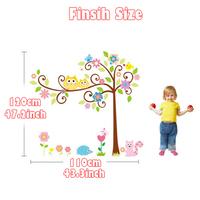 5set/lot Wholesale Transparent PVC Sticker Cartoon Animal Lovely Owl With Beautiful Tree Kids Sticker For Bedroom Decor