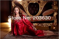 Spring 2014 Sexy Silk robe costume long sleeve Slips (Vest+Slip+pant 3pieces) Lace Sleepwear sets 2colors V-Collar Fee shipping