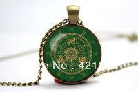 10pcs/lot Legend of Zelda Hyrule Gate of Time Historia Emblem inspired bronze glass cabochon dome pendant