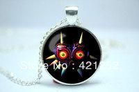 10pcs/lot Legend of Zelda Majora's Mask necklace inspired glass cabochon dome pendant necklace