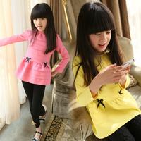 Children's clothing female child spring 2014 bow ruffle girl long-sleeve dress child one-piece dress