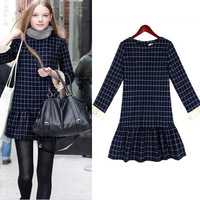 Spring New 2014 European Style Fashion Retro Short Plaid Long Sleeve Cotton Ball Gown Dresses For Women 8140#  S-XL
