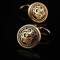 Classic Chinese Dragon Men's French Shirt Wedding Groom Men Round Cuff Links Business Gold Cufflinks For Mens