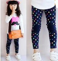 5pcs/lot new 2014 spring kid's girls colorful dots leggings pants hot selling ZZ1249