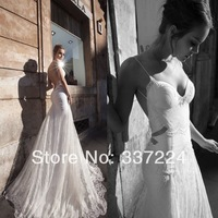 Elegant New White Custom Size Mermaid Lace Wedding Dresses 2014