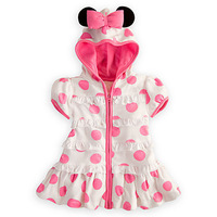 2014 new white flour Polka Dot Dress Minnie Girls Hooded Dress, children mickey dress Vestido Infantil Rosa