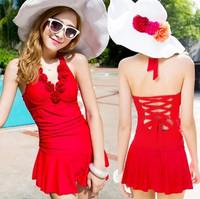 2014 New Swimwear women's one-piece dress small push up swimwear swimsuit hot springs steel  Free Shipping