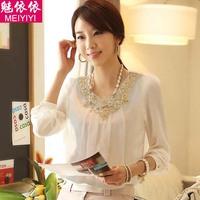 2014 new spring Korean women long sleeve shirt chiffon shirt lace shirt blouse large size women bottoming shirt