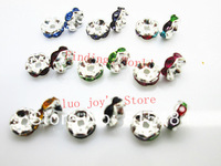 Free Shipping 100 Silver Plated Flower Side Mixed Rhinestone Rondelle Spacers Beads 8x4mm(W03722X 1)