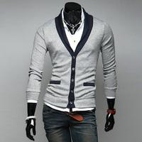 2014 new fashion deep V -neck long-sleeved cotton cardigan sweater men's fashion jacket for men outwear slim jackets mens