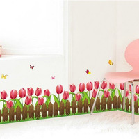 1set Large Size 20*55 Inch Beautiful Tulip Barrier Transparent PVC Decal For Baseboard Sticker & Decorative Flowers Barrier
