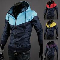 2014 spring autumn men's clothing with a hood slim male jacket for men top thin outerwear Windbreak outwear jackets M,L,XL,XXL