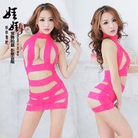 Free Shipping Women Super Sexy Red Stripes Body Suit Women Sex Lingerie Suit Nylon Body Suit