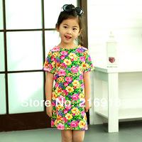Children's clothing female child summer 2014 baby flower a-line child short-sleeve dress