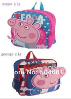 2014 New hot sale 1ps peppa pig Backpacks Kids children's bag Girl Boy Cartoon School Bags Bookbag Leisure Satchel Free Shipping