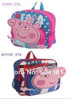 2014 New hot sale 1ps peppa pig Backpacks Kids children's bag Girl Boy Cartoon School Bags Bookbag Leisure Satchel Free Shipping