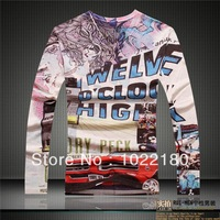 Free Shipping 2014 New Slim Fit Cotton Stylish V-Neck hip hop t shirt men Long Sleeve Casual Men's Printed 3D T-Shirt size xxl