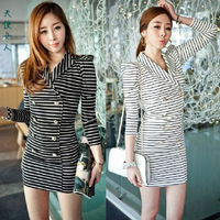 free shipping 2014 fashion slim hip spring ol slim basic shirt one-piece dress stripe dress sexy shirt