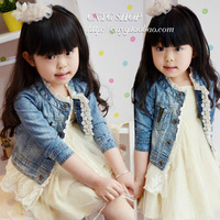2014 Spring Children clothing wholesale, Ploughboys girls child outerwear gentlewomen princess sweep lace denim outerwear