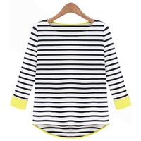 S- XXL 2014 new autumn summer women shirt black striped long sleeve knit T-shirt stitching institute t shirts striped tops woman