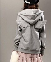 Free Shipping High Quality 2014 Plus Size Korean Individual Angle Wing Hooded Lover's Long Coat Black/Grey