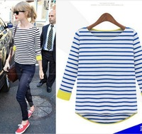 S- XXL new 2014 autumn summer primer t shirt women striped long sleeve knit T-shirt stitching clothes women striped tops woman
