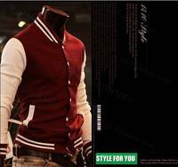 2014 new fashion Men's Trendy jacket for men Baseball Uniform fit sport slim embroidered ball shirt male jackets male M-XXL