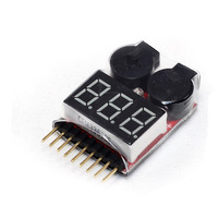 Wholesale! 2 x 1-8S 2in1 RC Li-ion Lipo Battery Low Voltage Meter Tester Buzzer Alarm , Free shipping