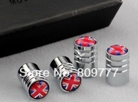 15MMX9.77MM Free Shipping Chrome Metal Wheel Tire Valve Caps Stem Air For England flag