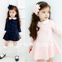 Free shipping 2014 new children's cute dress girls casual princess dresses kids flower print dress baby dress 3T-10 Wholesale