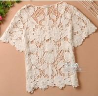 Free shipping Hot Elegant Bohemia Korean Fashion Crochet Lace Women Knit Tops Outwear Shirt Wholesale Cheap shirt Blouse