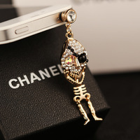 Wholesale kpop name brand designer luxury diamond pirate skull anti dust plug/ks rhinestone earphone dust cap for cell phone