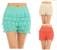 Free Shipping  XXL Full Cotton Lace Knitted Crochet Tiered  Fashion Women's Mini Shorts Skorts Safety Pants