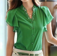 new 2014 leisure women clothing women blouses chiffon T shirt v-neck lotus leaf large size chiffon blouse ladies OL office shirt