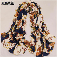 Free Shipping !2014 New Style, Carriage And Chain Scarf Long Chiffon Scarf Women Korean Version Silk Scarf