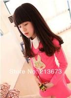 Retail  new fox head girls  skirt Korean children's long-sleeved dress girls flower clothes 2 colors