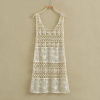 Women Bohemia Beach Dresses White Retro Semi Sheer Sleeve Embroidery Floral Lace Crochet Causal Dress Free Shipping