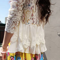 New 2014 S-XXL skinny shoulder pad precious mosaic lace shirt cardigan sunscreen shirt air-conditioning WF-307