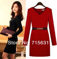 2014 Women's Spring one-piece Dress Elegant Plus Size Slim Long-Sleeve Basic dress WD-1415 S-3XL