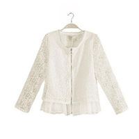 New Arrival Spring 2014 Top Quality Women Fashion Lace Corect Embroidery Shirts Blouses Woman Transparent Zipper Jackets Tops