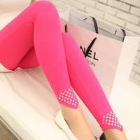 New arrival fashion women cotton crystal leggings woman pants lady panties Slim Trousers Skinny Capris 10 candy colors  legging