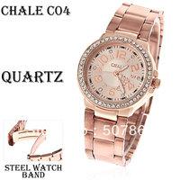 Fashion Luxury Gold Chale Women Lady Watch Rhinestone Decoration Steel Quartz Analog dress Watch Wrist Watches Free Shipping