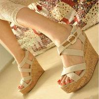 new fashion 2014 female platform gladiator platform wedges sandals open toe high-heeled shoes FREE SHIPPING WS023