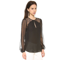 Free shipping 2014 NEW Women Romantic exquisite gothic lace loose Blouses & Shirts long-sleeve arc sweep female shirt haoduoyi
