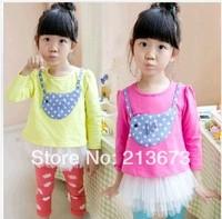 2014 spring new Korean children dress girls long-sleeved dress children birdie patch Sasa tutu dress