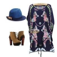 3Color L-4XL Plus Size Casual Sexy Women Horse Print Dress Slim Lady Girl Dress Big Size 3XL XXXL XXXXL  2014 New Fashion Summer
