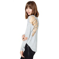 2014 New The unique design of the back sides of the shoulder hollow rope wear long-sleeved round neck T-Shirt Free Shipping OM