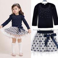 Girls' suits 2014 New arrival Autumn Korean girls long-sleeved T-shirt + skirt 2pcs Diamond dot bow dress children's skirt suit